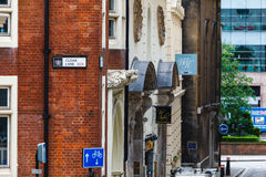 Cloak lane. The street of cloak lane in London, England stock image