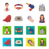 Cloak, red, clothes, and other web icon in flat style. Super, strength, girl, icons in set collection. Cloak, red, clothes, and other  icon in flat style. Super Royalty Free Stock Images
