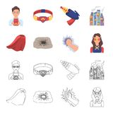 Cloak, red, clothes, and other web icon in flat style. Super, strength, girl, icons in set collection. Cloak, red, clothes, and other  icon in flat style. Super Stock Photos