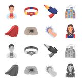 Cloak, red, clothes, and other web icon in flat style. Super, strength, girl, icons in set collection. Cloak, red, clothes, and other  icon in flat style. Super Stock Image