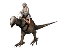Cloaked rider on fantasy mount. Sci-fi render of cloaked female rider on dinosaur like mount stock illustration