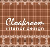 Cloakroom interior design. Text on tile. Red brown square tiles with decor. vector illustration
