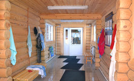 Cloakroom. Wooden houses Stock Photos