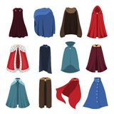 Cloaks party clothing and capes costume set. Outdoor fabric, over garment Vector flat style cartoon illustration isolated on white background stock illustration