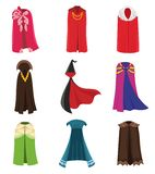 Cloaks party clothing and capes costume set. Outdoor fabric, over garment Vector flat style cartoon illustration. Isolated on white background vector illustration