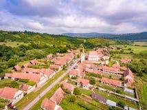 Cloasterf撒克逊人的村庄和被加强的教会在特兰西瓦尼亚, Ro 免版税库存照片
