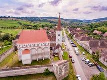 Cloasterf撒克逊人的村庄和被加强的教会在特兰西瓦尼亚, Ro 免版税图库摄影