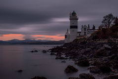 Cloch lighthouse gourock scotland. The cloch lighthouse on the river clyde in scotland at sunset Stock Photo
