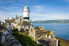 Cloch Lighthouse With Other Houses In Cloch Point - Inverclyde In Scotland Stock Photos
