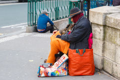 Clochard, homeless with dog in Paris Stock Photo