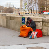 Clochard, homeless with dog in Paris Stock Image