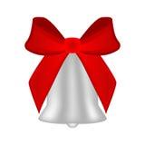 Cloche argentée de Noël avec l'arc rouge Images libres de droits