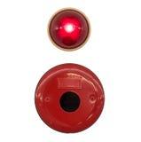 Cloche d'alarme d'incendie rouge avec la lumière d'isolement images libres de droits