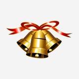 Cloche d'or avec l'illustration rouge de ruban Photos stock