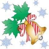 Cloche de Noël avec des feuilles et des flocons de neige photographie stock