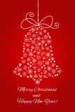 Cloche de Noël faite à partir des flocons de neige Calibre de vacances de nouvelle année pour la carte postale, la bannière, l'af illustration libre de droits