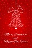 Cloche de Noël faite à partir des flocons de neige Pour la carte postale, la bannière, l'affiche, l'invitation, etc. illustration stock