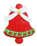 Cloche de Noël faite d'argile de polymère Images stock