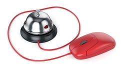 Cloche de réception avec la souris rouge d'ordinateur Entretenez le concept Photographie stock