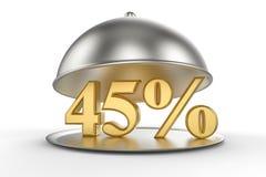 Cloche de restaurant avec des 45 pour cent d'or outre de signe Photo stock