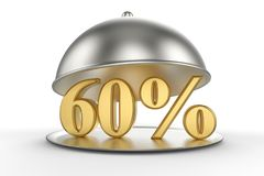 Cloche de restaurant avec des 60 pour cent d'or outre de signe Photographie stock