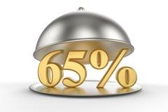 Cloche de restaurant avec des 65 pour cent d'or outre de signe Photo stock
