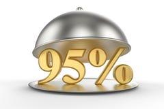 Cloche de restaurant avec des 95 pour cent d'or outre de signe Illustration Stock