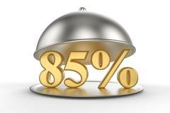 Cloche de restaurant avec des 85 pour cent d'or outre de signe illustration libre de droits