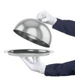 Cloche de restaurant avec le couvercle ouvert Image stock