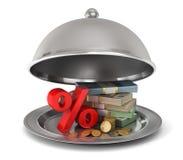 Cloche de restaurant avec le signe et l'argent de pour cent illustration libre de droits