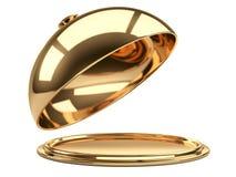 Cloche de restaurant d'or avec le couvercle ouvert Images libres de droits