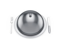Cloche with knife and fork. 3d render of cloche with knife and fork,  on white background Stock Photos