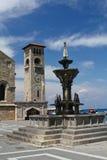 Clocher antique à l'île de Rhodes, Grèce Photographie stock libre de droits