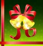 Cloches d'or de Noël Photographie stock