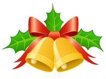 Cloches d'or de Noël avec la proue de bande et la prairie de houx Image stock
