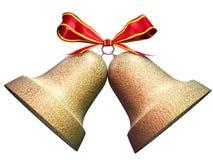 Cloches de Noël brillantes d'or Image libre de droits