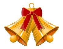 Cloches de Noël de sonnerie d'or avec l'arc rouge illustration stock