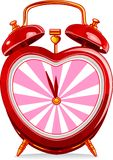 Clock_1. Love red vintage alarm clock Stock Photos