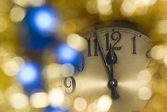 Clock. A clock with christmas decoration Royalty Free Stock Photography