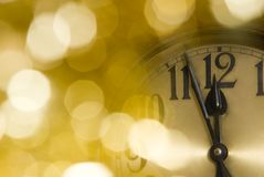 Clock. A clock with christmas decoration Royalty Free Stock Image