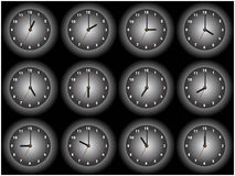 Clock 12. Clock illustrations of black and white. The main focus is in the hour hand. available in Stock Images