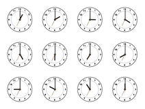 Clock 12. Clock illustrations of black and white. the main focus is in the hour hand Royalty Free Stock Image