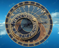 Clock. Old astronomical clock on sky background Royalty Free Stock Photos