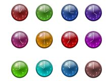 Clock. 12 colored clock every hour isolated on white background Stock Image