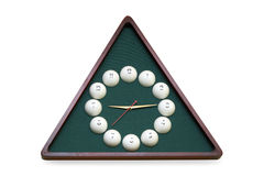 Clock. Hours per the wooden framework, stylised under billiards Stock Photo