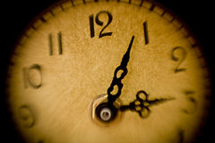 Clock. Artistically blurred view of a clock in yellow Royalty Free Stock Images