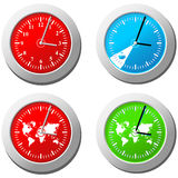 Clock. Four clock in different colors Royalty Free Stock Image