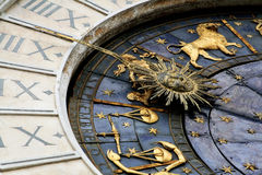 Clock. Detail of the old astronomical clock in the San Marco square . Venice,Italy Royalty Free Stock Photography