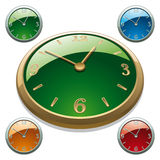 Clock. Set of Gold and Silver Clock Icons. Front and Perspective View. Vector Illustration Royalty Free Stock Image