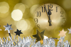 Clock. A clock with christmas decoration Stock Image